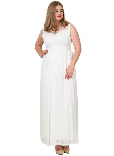 Angelino Butik Büyük Beden Şifon Kolsuz Uzun Abiye Elbise KL4009 Beyaz